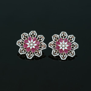 Large Flower Crystal Round Rhinestone Ruby Clip on Earrings Woman Zircon Jewelry