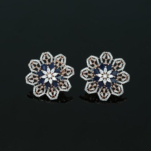 Large Flower Crystal Round Rhinestone Blue Clip on Earrings Woman Zircon Jewelry