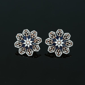 Large Flower Crystal Round Rhinestone Blue Clip on Earrings Woman Zircon Jewelry