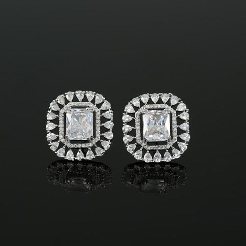 White Simulated Diamond Emerald Cushion Cut Large CZ Stud Earrings Jewelry