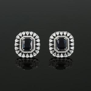 Sapphire Blue Simulated Diamond Cushion Cut Large CZ Stud Earrings Jewelry