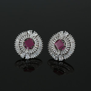 Rhodium Plated Square Ruby CZ Sparkle Stud Earrings Women Accessory