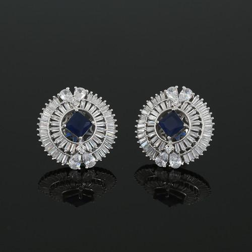 Rhodium Plated Square Sapphire Blue CZ Sparkle Stud Earrings Women Accessory