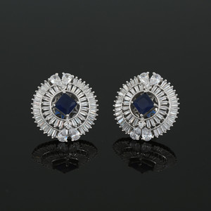 Rhodium Plated Square Sapphire Blue CZ Sparkle Stud Earrings Women Accessory