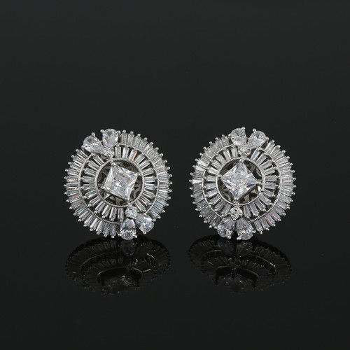 Rhodium Plated Square White CZ Sparkle Stud Earrings Women Accessory