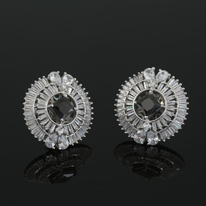 Rhodium Plated Square Black CZ Sparkle Stud Earrings Women Accessory