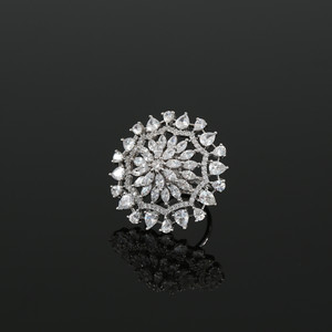 Clear Stones Studded Adjustable CZ Pave Unique Flower Shape Finger Ring