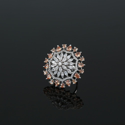 Golden Stones Studded Adjustable CZ Pave Unique Flower Shape Finger Ring