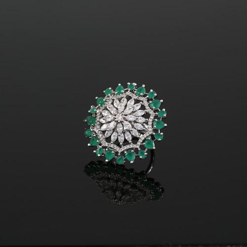 Emerald Stones Studded Adjustable CZ Pave Unique Flower Shape Finger Ring