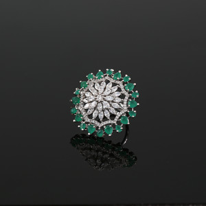 Emerald Stones Studded Adjustable CZ Pave Unique Flower Shape Finger Ring