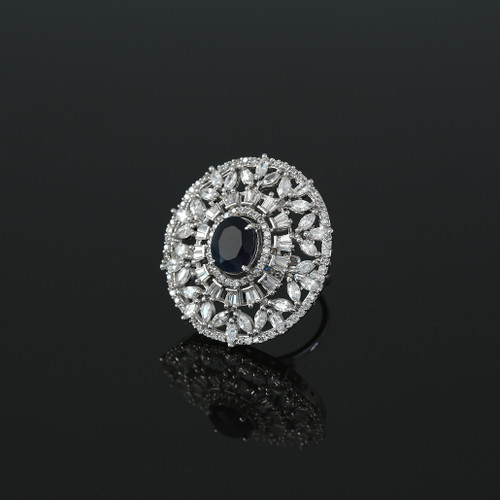 Womens Ring Rhodium Plated Oval Cut Sapphire Blue CZ Affordable Jewelry