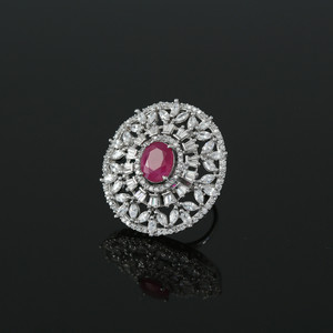 Womens Ring Rhodium Plated Oval Cut Pink Ruby CZ Affordable Jewelry