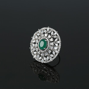 Womens Ring Rhodium Plated Oval Cut Emerald Green CZ Affordable Jewelry