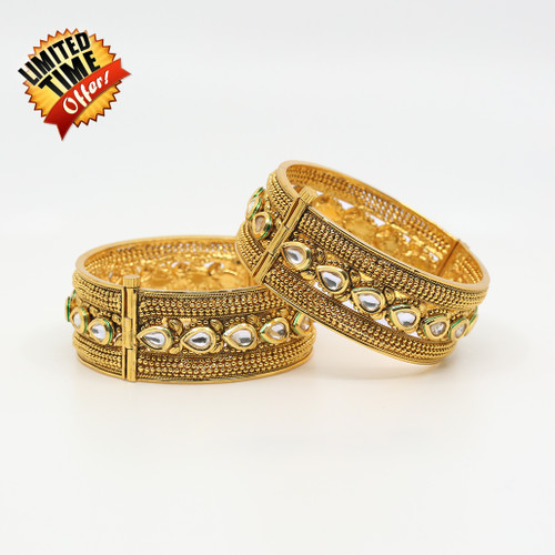 Antique Golden Kundan Clear Stone studded 2 Piece Bangles Size 2.8""