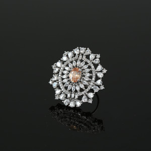 Synthetic Yellow Topaz CZ Center Piece and Clear Rhinestone studded Flower ring