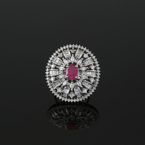 Bridal Style Oval cut Ruby Cubic Zirconia CZ fashion Ring Jewellery