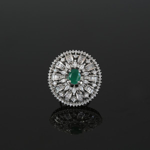 Bridal Style Oval cut Emerald Green Cubic Zirconia CZ fashion Ring Jewellery