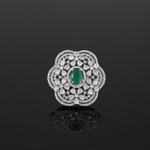 Simulated Emerald Oval and Cubic Zirconia Cluster Flower Ring Women Jewelry
