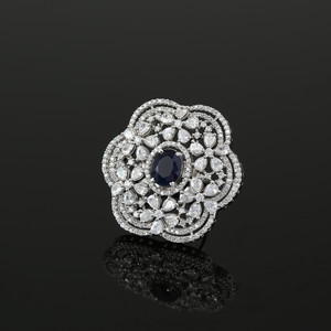 Simulated Blue Oval and Cubic Zirconia Cluster Flower Ring Women Jewelry