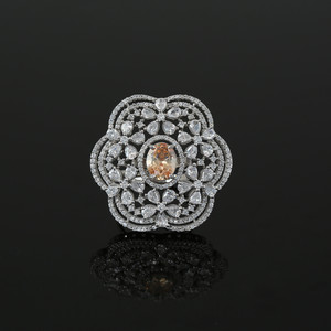 Simulated Topaz Oval and Cubic Zirconia Cluster Flower Ring Women Jewelry