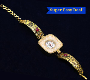 Indian Ladies Meenakari Bracelet Watch Rhinestones Traditional Jewelry