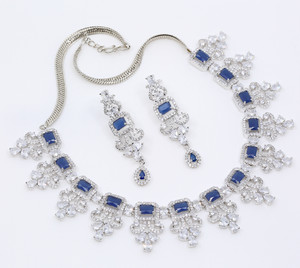 Wedding Gift Bride Jewelry Brass Rhodium Plated Blue and Clear CZ Necklace