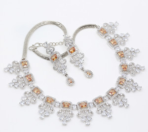 Wedding Gift Bride Jewelry Brass Rhodium Plated Topaz and Clear CZ Necklace