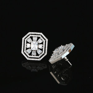 Silver Tone New Fashion Lady Cute White Cubic Zirconia Octagon Stud Earring