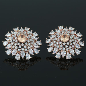 14K Rose Gold Bridal Stud Round Topaz CZ Clip on Wedding Earrings