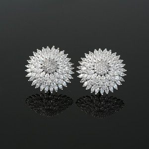 CZ Pave Rhodium Polish Brass Floral Design Stud Fashion Earrings