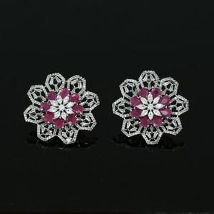 Ladies Gift Large Flower Crystal Round Rhinestone Clip on Earrings Pink Ruby