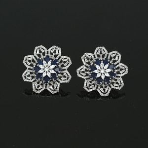 Ladies Gift Large Flower Crystal Round Rhinestone Clip on Earrings Blue Sapphire