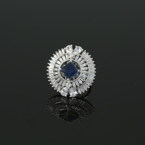 Rhodium Plated Square Sapphire Blue CZ Fashion Ring Women Accessory