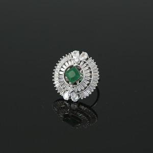 Rhodium Plated Square Emerald Green CZ Fashion Ring Women Accessory