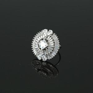 Rhodium Plated Square White Sapphire CZ Fashion Ring Women Accessory