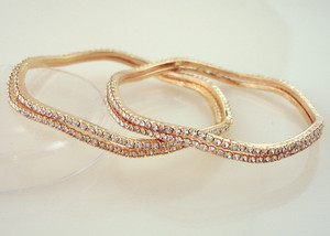 Gold plated bangles with clear colored cubic zirconia-109BA58(2/8)