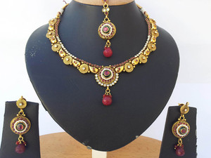 Indian costume jewelry with Ruby and clear stones Polki set-08PLK201