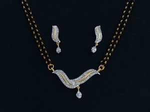 An Elegant White stone studded Mangalsutra-MAGS012