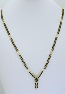 White and black stone studded Mangalsutra -08MAS19