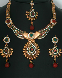 Traditional fashion Gold plated Emerald ,Ruby and Clear Polki set-11PLKJ15