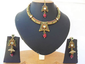 Womens jewelry with Emerald, Ruby and clear stones Polki set-08PLK205