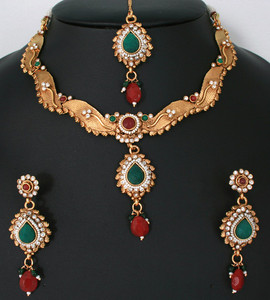 Charming Indian designer jewelry necklace with Emerald,Ruby Red and White polki stones-011PLKJ60