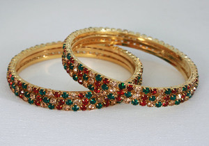 Ethnic Indian Fashion Jewelry Bangle set with Green,Red and Topaz stones studded-12BANJ12