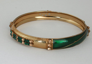 Gold plated Indian fashion Bangle with green cz stones studded-01ban13
