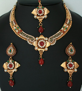 Beautiful Indian Costume Ruby Red,White and Emerald stone polki jewelry Necklace set-011PLK18J