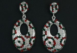 Red and Green Stone studded Indian Fashion Earrings Set-0113EAR15