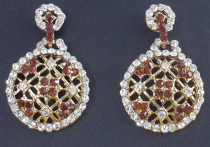Fashion Earrings with Brown Topaz and clear cz stones on a gold background-0113EAR29