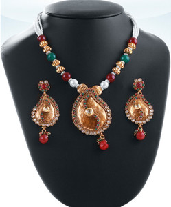 Gold plated beaded necklace  with pendant with emerald,ruby and clear cz stones-04PLKA12