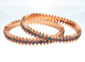 Charming Indian Fashion Jewelry Bangle set with Emerald and Ruby stones studded-04BANJ103