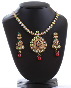 Fabulous design Kundan Pendant Set with combination of Ruby and Green,white Stones-04KDN01